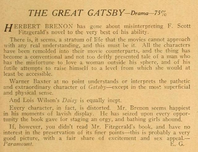 Gatsby 1926 - review reprint
