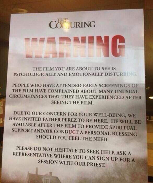 Conjuring-warning poster