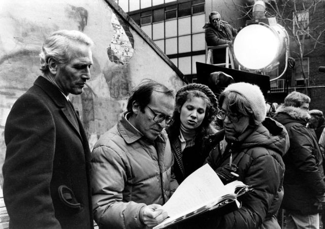 "Paul Newman, Sidney Lumet, Lindsay Crouse (left to right), shooting ""The Verdict"" 1982"