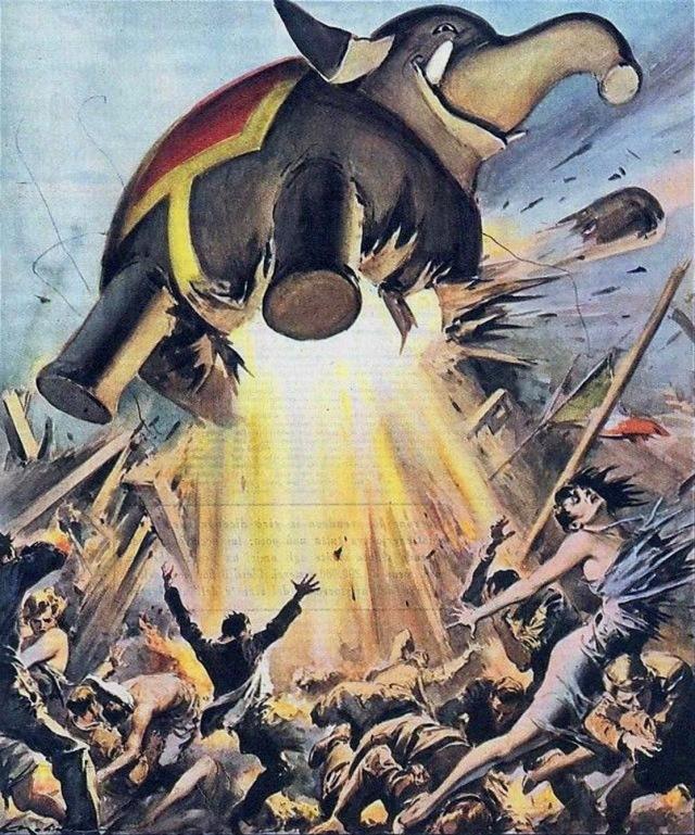 Walter Molino-exploding elephant '57