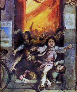 Walter Molino-kids running from fire