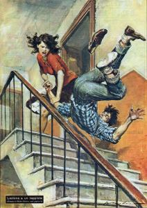 Walter Molino-throwing guy down stairs