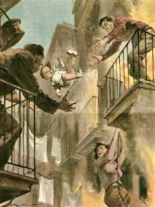 Walter Molino-tossing baby from fire