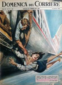 Walter Molino-woman hanging out airplane